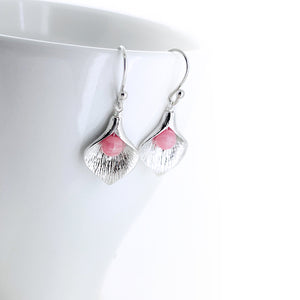 Silver Calla Lily Earrings | Rhodochrosite