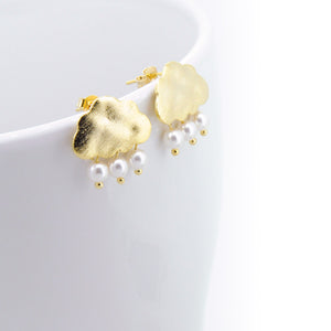Snow Clouds Earrings (Brushed Gold)