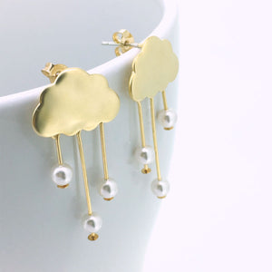 Rain Clouds Earrings (Gold)