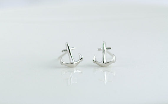 Tiny Anchor Earrings in Silver