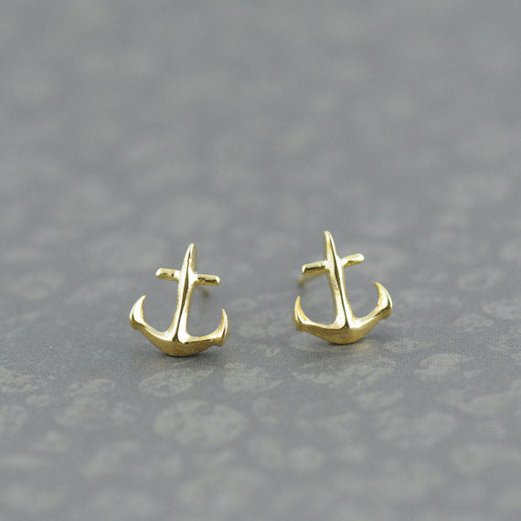 Tiny Anchor Earrings in Gold