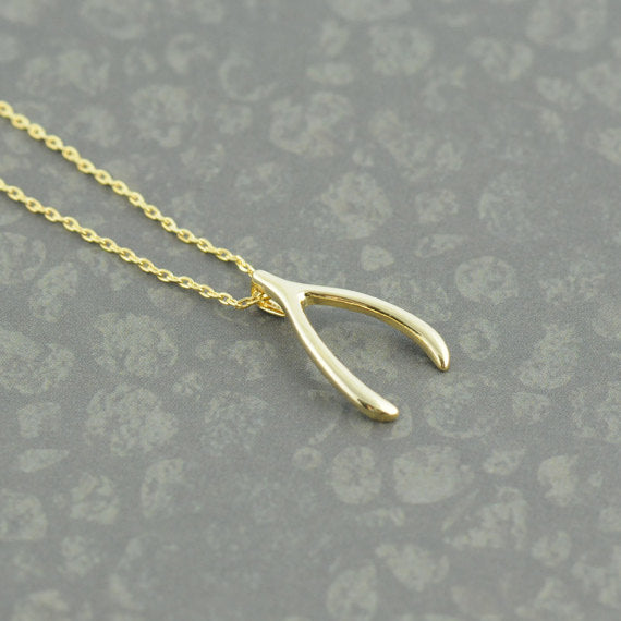 Gold Wish Bone Necklace