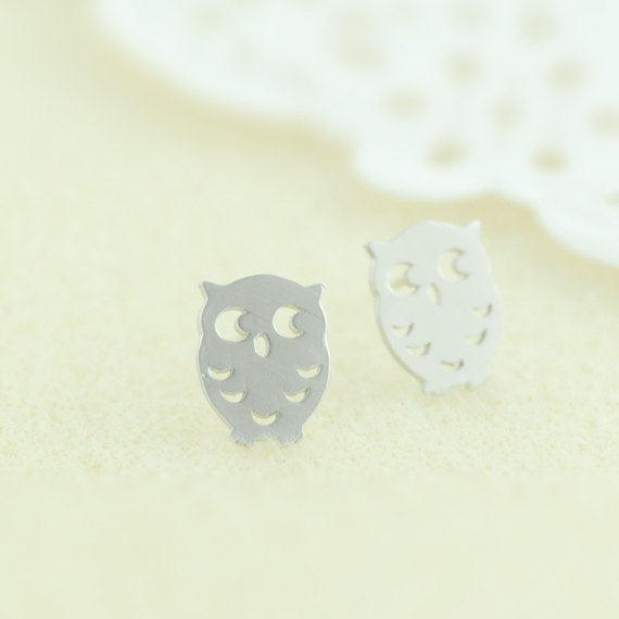 Baby Owl Earrings in Silver