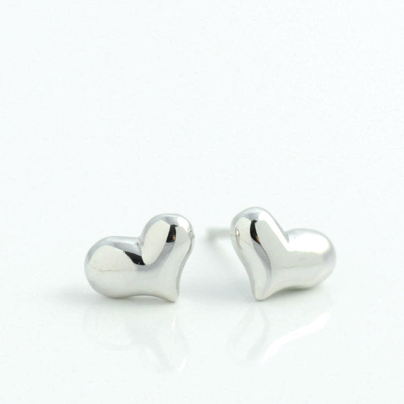 Silver Heart Post Earrings
