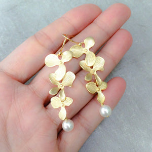 Gold Cascading Orchids Earrings