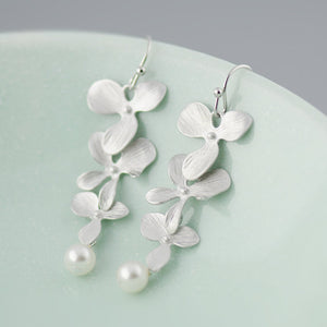 Silver Cascading Orchid Earrings