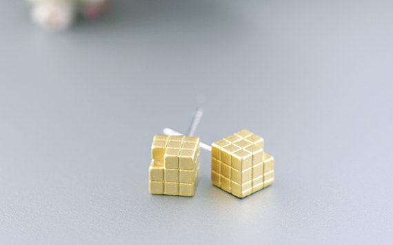 Rubik Cube Post Earrings in Gold
