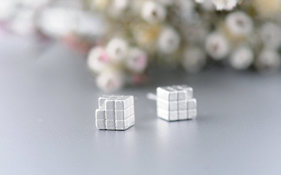 Rubik Cube Post Earrings in Silver