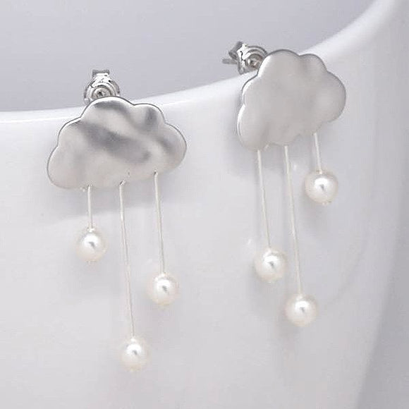 Rain Clouds Earrings (Silver) with White Pearls