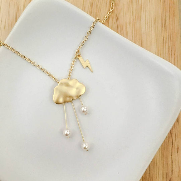 Rain Clouds Necklace (Gold)