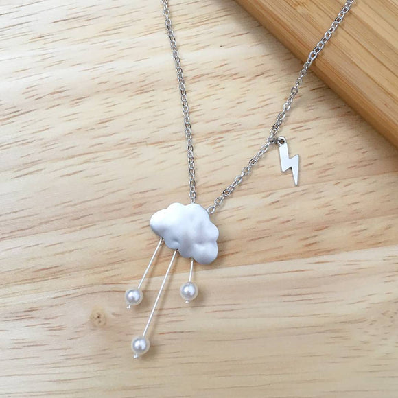 Rain Clouds Necklace (Silver)
