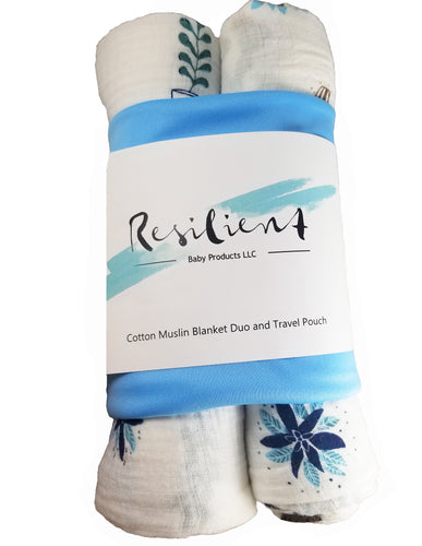 Blue succulent and cactus print cotton muslin baby blanket 2 pack with travel bag. Zipper closure and water resistant lining. 100% cotton muslin natural fibers. Blue print.