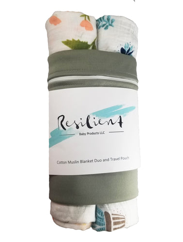 Lightweight Baby Blanket- 2 Pack with Travel Bag- Blush Floral and Blue Cactus