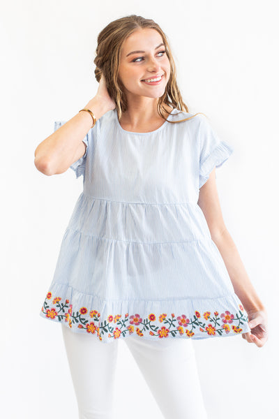 Palmetto Embroidered Babydoll Blouse