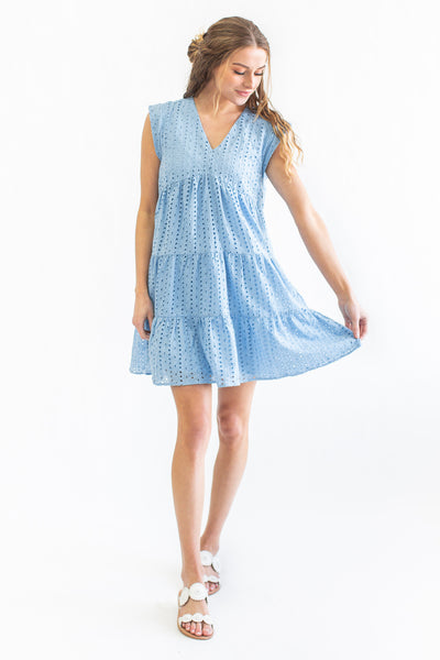 Valerie Eyelet Dress Blue