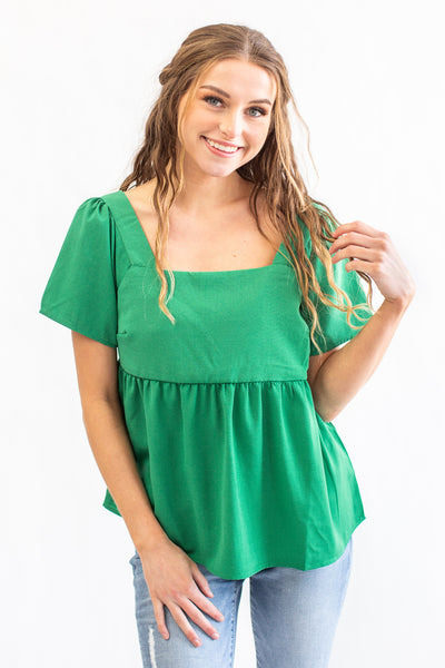 Jolene Square Neck Top Kelly Green