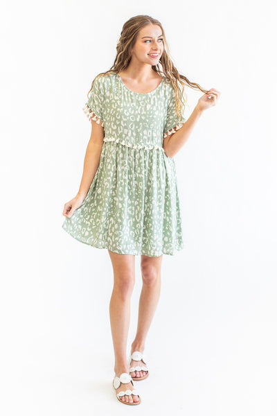 Ashland Leopard Print Dress Sage