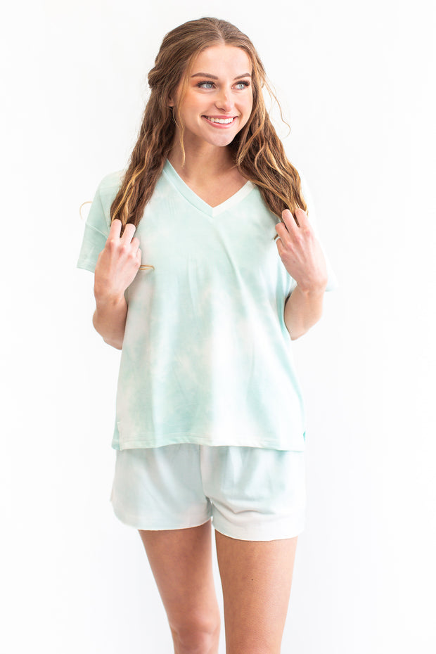 Randi Tie Dye Lounge Top Mint