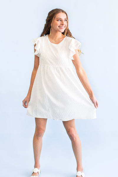See You Soon Swiss Dot Dress White
