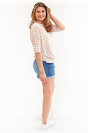 Karli Double Button Denim Shorts Light Wash