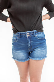Karli Double Button Denim Shorts Medium Wash