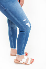 Joelle Double Button Skinny Jeans Medium Wash
