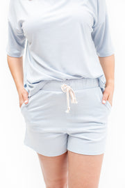 Stay Close Ribbed Lounge Shorts Light Blue