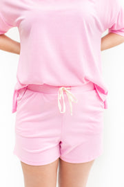 Stay Close Ribbed Lounge Shorts Pink