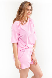 Stay Close Ribbed Lounge Top Pink