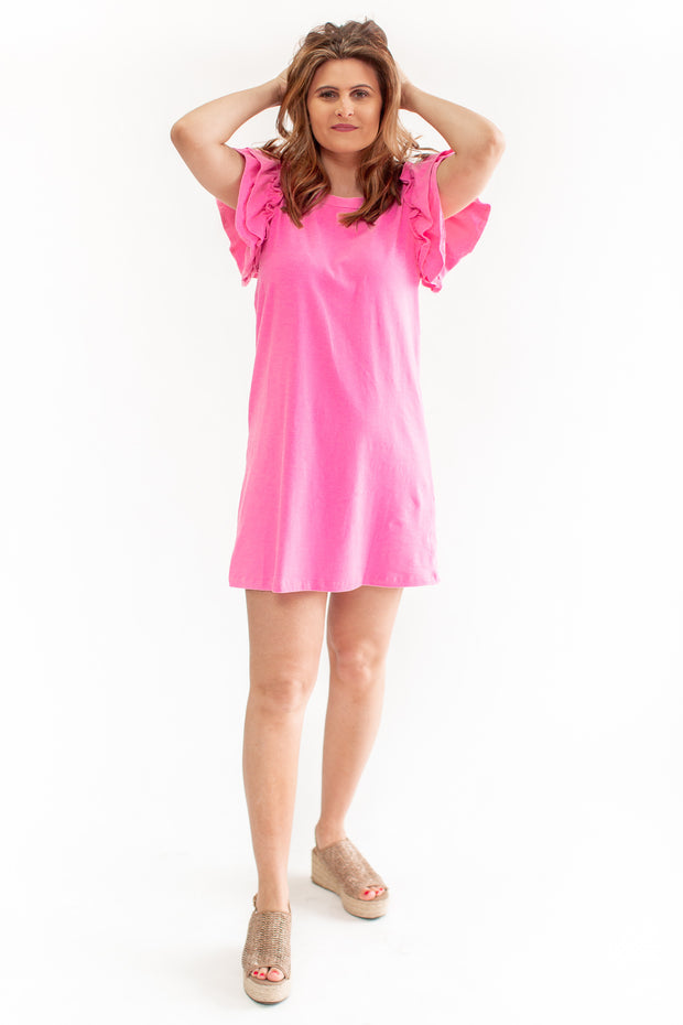 June Ruffle Sleeve Dress Pink