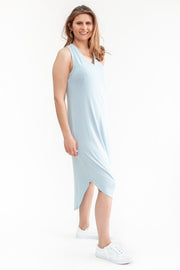 Somewhere To Go Sleeveless Midi Dress Pale Blue