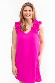 Audrey Ruffle Shoulder Dress Hot Pink