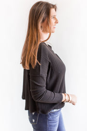 Lincoln Ribbed Top Black