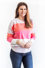 Avril Color Block Sweater Pink Multi