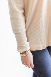 """Take A Second"" Thermal Knit Top Natural"