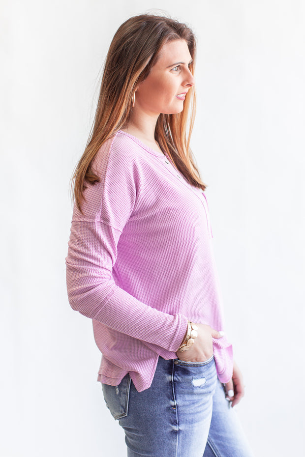 """Take A Second"" Thermal Knit Top Lilac"