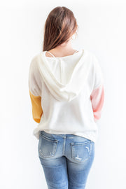 Layla Balloon Sleeve Hoodie Sweater Ivory Multi