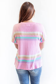 Remi Striped Short Sleeve Sweater Pink