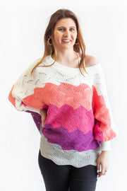 """Wherever, Whenever"" Color Block Knit Sweater Coral/Purple"