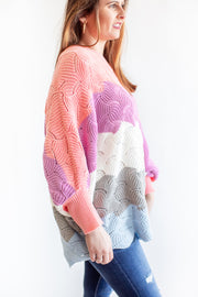 """Wherever, Whenever"" Color Block Knit Sweater Grey/Blue"