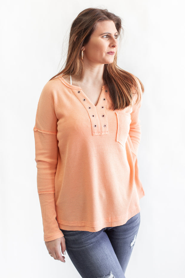 """Take A Second"" Thermal Knit Top Apricot"