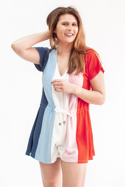 Live It Up Color Block Romper Blue/Pink