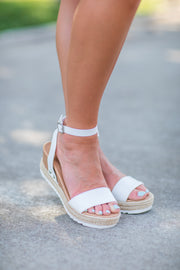 Sam Wedge Espadrille Sandal White