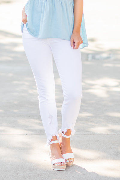 Chloe Distressed Hem Jeans White