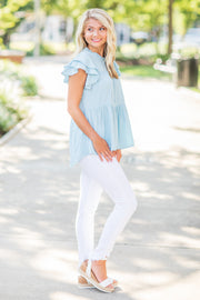 Hadley Ruffled Top Light Blue