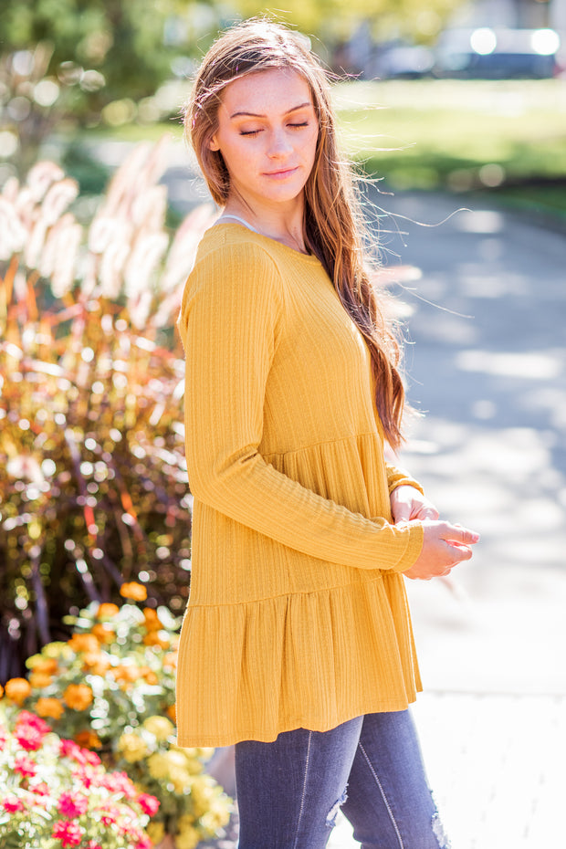 Tess Ruffle Top Mustard - FINAL SALE