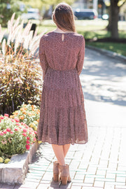 Sia Printed Midi Dress Brown
