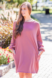 Bailey Solid Balloon Sleeve Dress Marsala