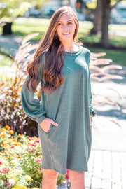 Bailey Solid Balloon Sleeve Dress Heather Green