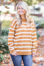 Ginger Stripe Knit Sweater Marigold